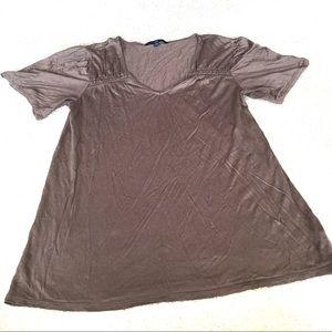 Gap Bronze V-neck Short Sleeve Rayon Tee - Small
